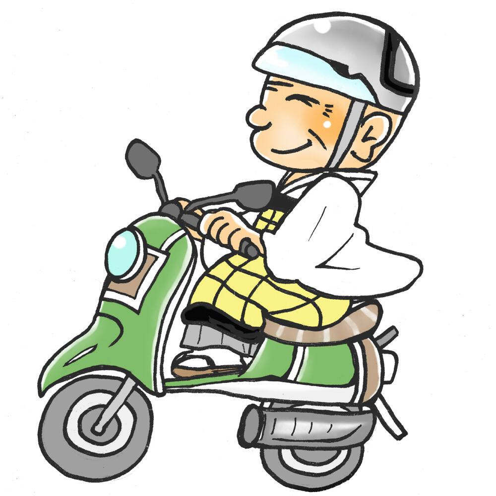 バイクに乗るおじいさん